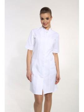 Sukienka stójka kryte napy krótki rękaw
